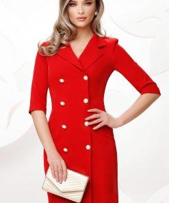 Rochie Fofy rosie stil sacou cu nasturi pretiosi cu strasuri si perla maxi