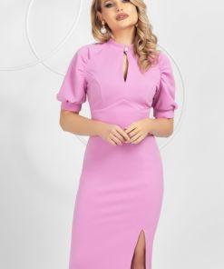 Rochie Pretty Girl office roz cu umeri bufanti si crapatura pe picior