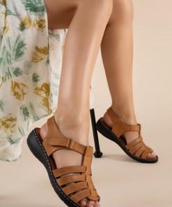Sandale piele naturala Richelle Camel