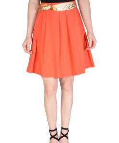 Fusta eleganta orange cu pliuri D853 O