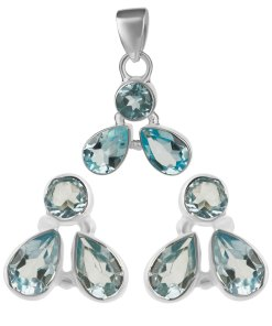 Set argint clear blue cu aquamarin