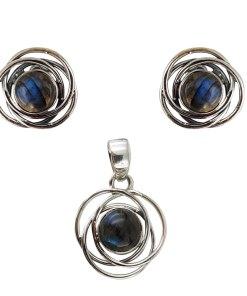 Set argint twin circles cu labradorit