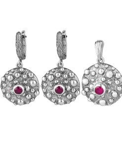Set argint silver dots cu rubine