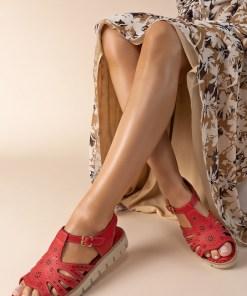 Sandale piele naturala Isadora Rosii