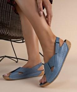 Sandale piele naturala Otniela Albastre