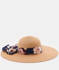Sinsay - Pălărie cu panglică înflorată - Maro