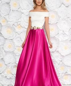 Rochie roz de ocazie in clos din material satinat cu insertii de broderie