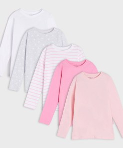 Sinsay - Set de 5 tricouri cu mânecă lungă - Alb