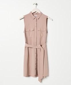 Sinsay - Rochie-cămașă cu cordon - Bej
