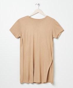 Sinsay - Tricou cu despicături - Bej