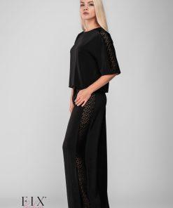 Compleu bluza + pantaloni elegant 3966 / 3967 Negru