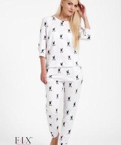 Pijama dama bumbac organic 4010 iepuraș