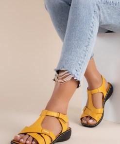 Sandale piele naturala Sonya Galbene