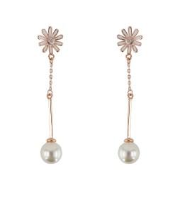 Cercei argint Ada rose-gold cu perla
