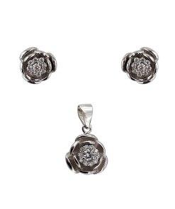 Set argint summer bloom cu zirconii albe