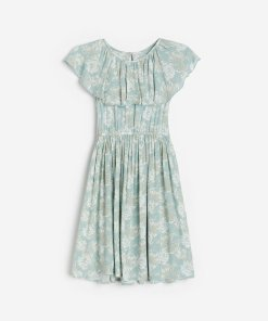 Reserved - Rochie cu model floral - Turcoaz