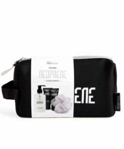Set IDC Institute Neoprene Ocean Essence Black (Gel de dus + sampon, 160 ml + Lotiune de corp, 60 ml + Gel de ras, 60 ml + Puff)