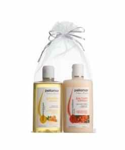 Set Pellamar Cosmetics Beauty Hair (Sampon hidratant cu miere de albine, 250 ml + Balsam regenerant cu ulei de catina, 250 ml + Saculet organza)