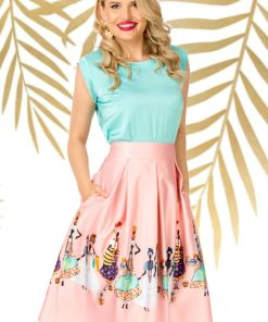 Fusta Pretty Girl midi rose in clos cu imprimeu tribal