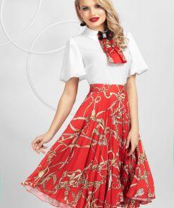 Fusta Pretty Girl rosie plisata din voal cu imprimeu lanturi
