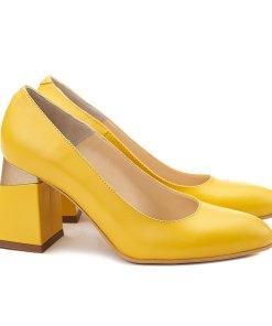 Pantofi stiletto eleganti din piele galbena 4071