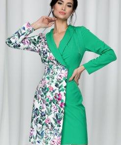 Rochie Moze tip sacou verde cu imprimeu floral