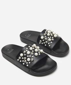 House - Șlapi cu perle și mărgele - Negru