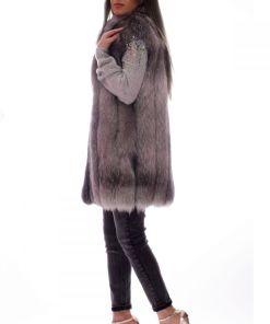 Vesta dama din blana naturala de vulpe arginte