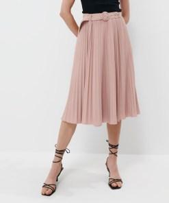 Mohito - Fustă plisată cu curea - Roz