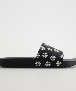Reserved - Șlapi cu detalii decorative - Negru