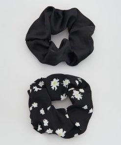 Reserved - Set de 2 elastice de păr cu efect decorativ - Negru