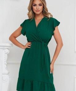 Rochie Lady Pandora verde-inchis midi in clos cu elastic in talie din material vaporos cu volanase