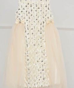 Rochie pentru fetite ivoire de ocazie in clos din tul cu aplicatii cu paiete
