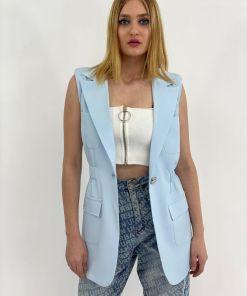 Vesta gri/bleu cu elastic la talie si inchidere cu un nasture maxi