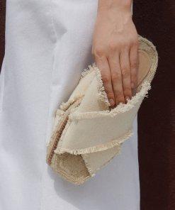 Reserved - Șlapi cu barete din bumbac - Alb