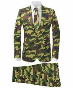 vidaXL Costum bărbați cu cravată, model camuflaj, mărime 46, 2 piese