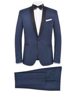 vidaXL Smoching/Costum seară bărbătesc, 2 piese, mărimea 46, bleumarin