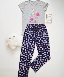 Pijama dama bumbac primavara-vara cu pantaloni lungi bleumarin si tricou gri cu imprimeu Cute Cat