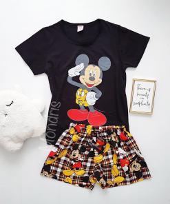 Pijama dama bumbac scurta cu tricou negru si pantaloni negri cu imprimeu MK Hello