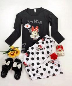 Pijama dama ieftina bumbac cu pantaloni albi si bluza cu maneca lunga neagra cu imprimeu Cute MM
