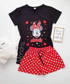 Pijama dama ieftina bumbac cu tricou negru si pantaloni scurti rosii cu imprimeu MM Buline