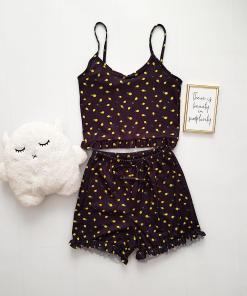 Pijama dama neagra ieftina scurta cu maieu cu volanase si imprimeu little lemon