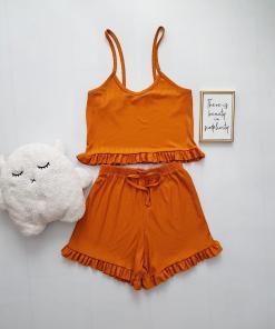 Pijama dama portocaliu ieftina scurta cu maieu cu volanase si imprimeu simplu