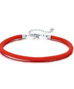 Bratara din argint cu snur Red Rope