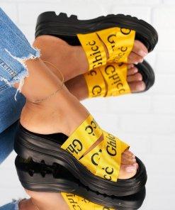 Papuci/Slapi Textil Galbeni Leila X4884