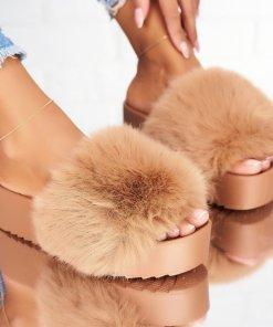 Papuci/Slapi Textil Kaki Kate X4894