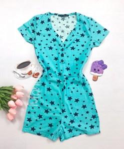 Pijama dama scurta tip salopeta albastra cu nasturi si imprimeu Stelute