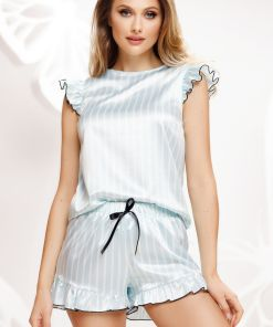 Pijama Fofy premium din satin cu dungi bleu si volanase
