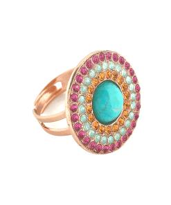 Inel placat cu Aur roz de 24K, cu cristale Swarovski, Happy Days | 7418/3M-1007rg