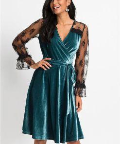 Rochie catifea cu dantelă - albastru